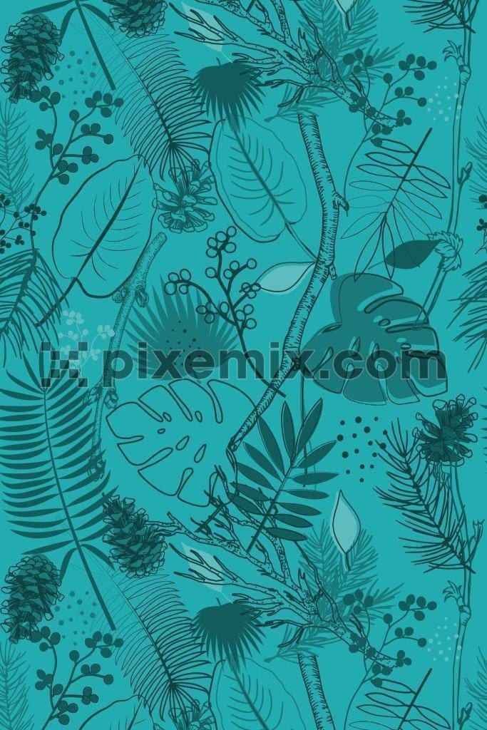 Monochrome tropical leaves line art vector pattern product graphic