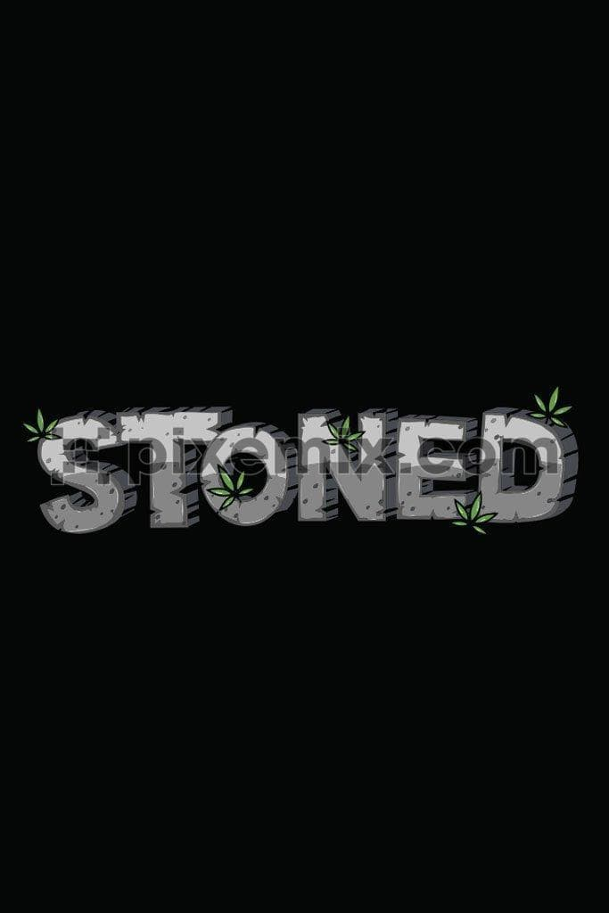 Stoned 3D quirky typography vector product graphic