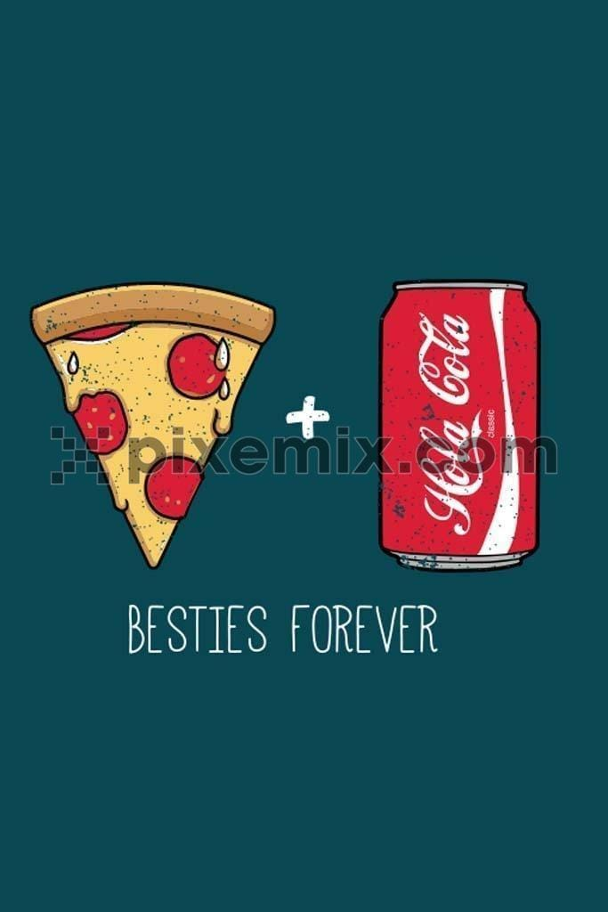 Pizza and cola besties quirky vector product graphic