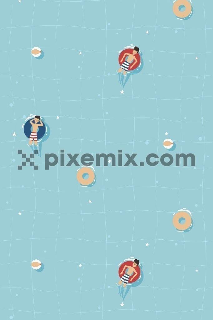 Pool time fun vector pattern product graphic