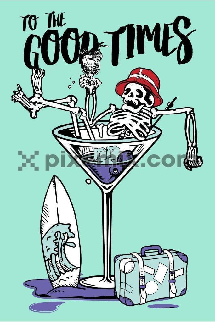 Holiday cocktail skeleton vector product graphic