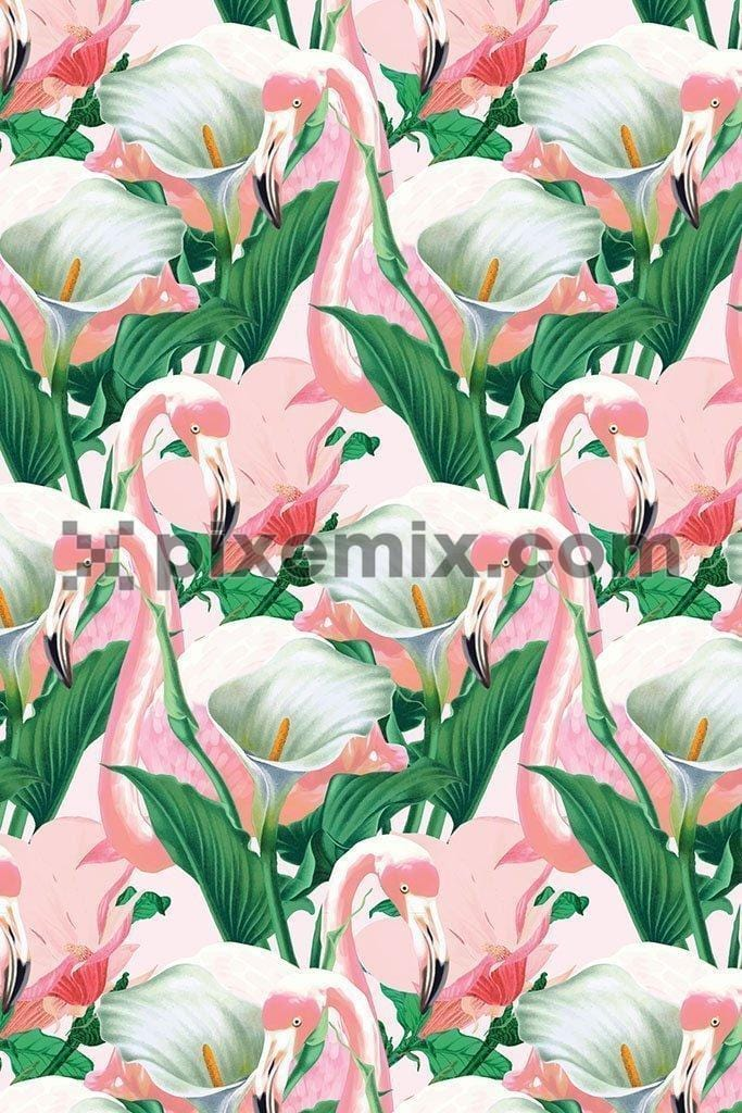Tropical flamingo pattern product graphic