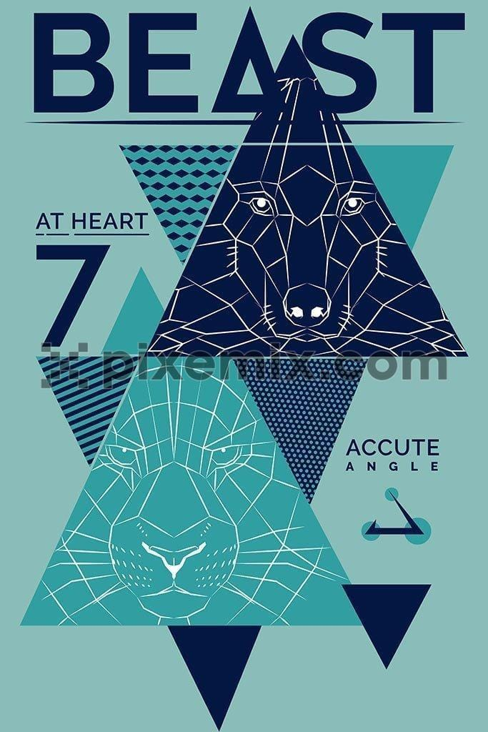 Abstract modern geometical line art vector product graphic
