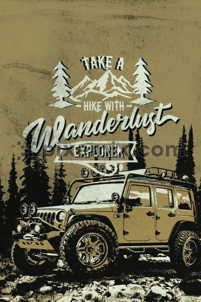 Photo manipulation wanderlust explorer product graphic