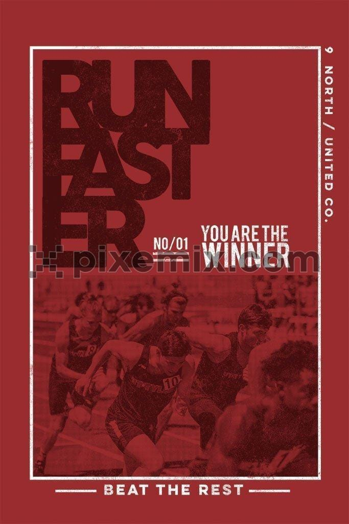 Running athletes at stadium with motivational typography product graphic