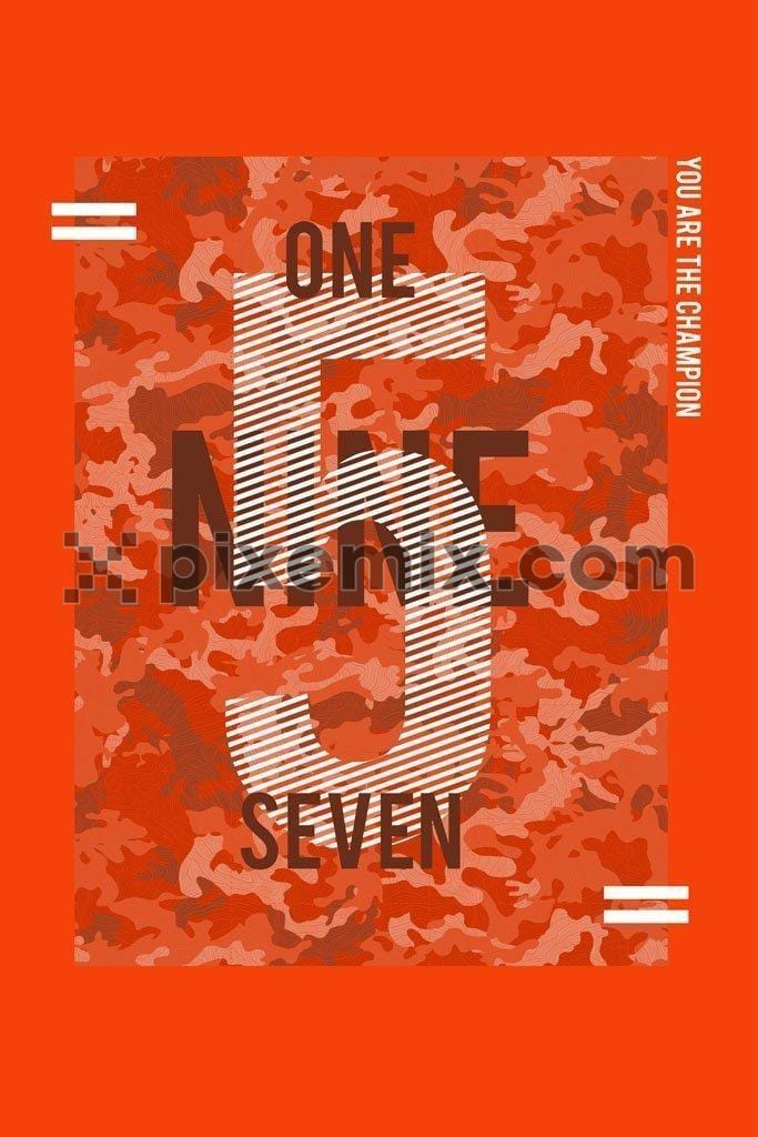 Number typography product graphic with camouflage backgroung