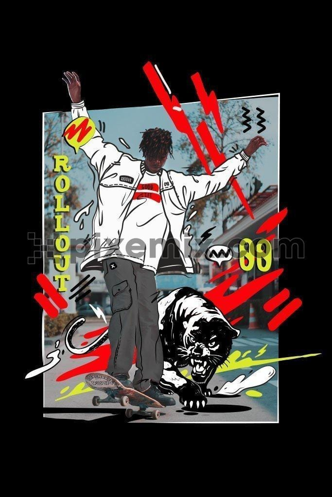 Doodle skateboarder skateboarding with black panther outdoors vector product graphic