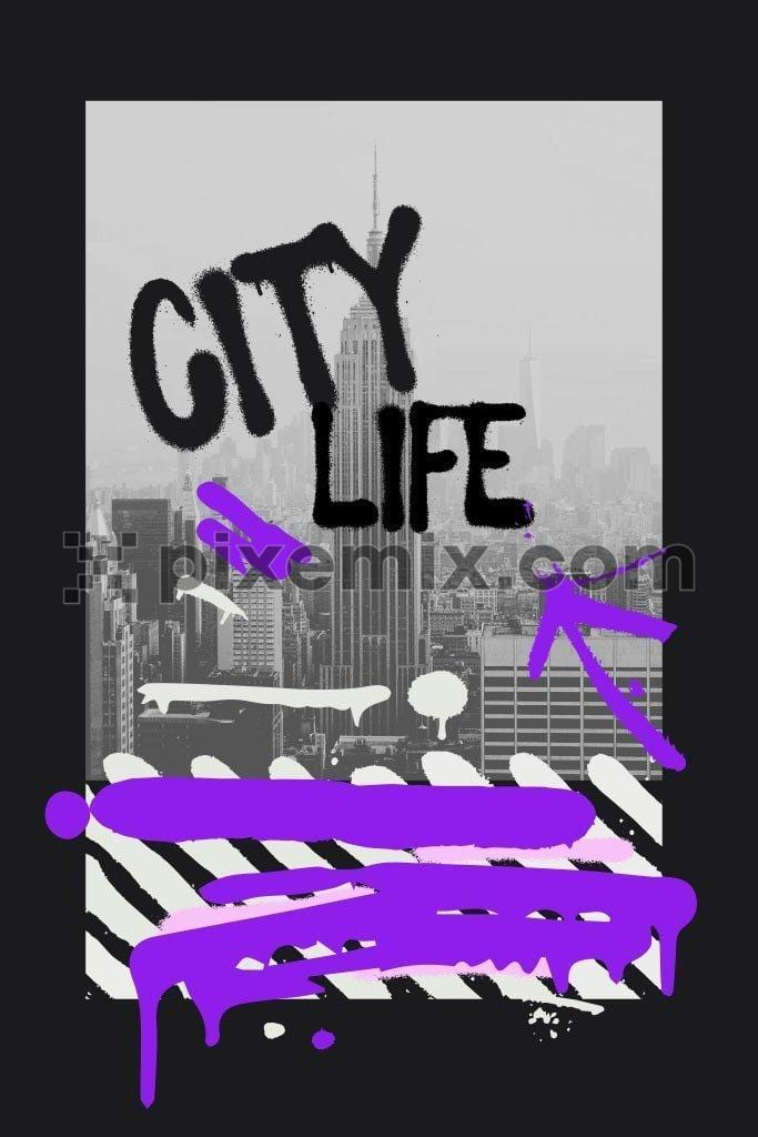 Urban city with spray graffiti typography vector product graphic