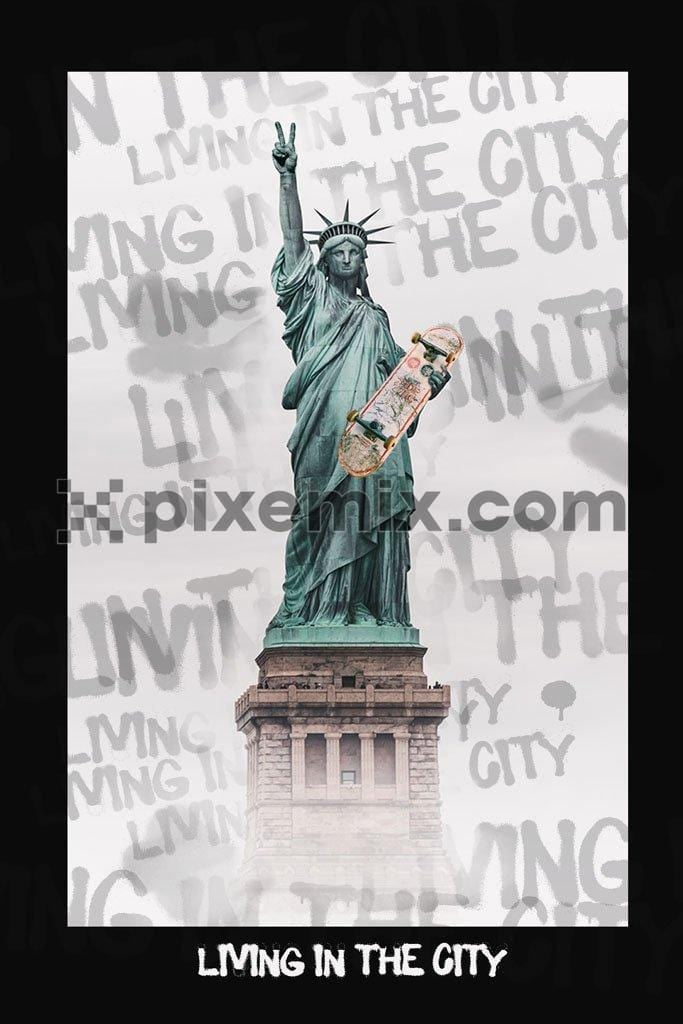 Modern statue of liberty with skateboard in hand product graphic