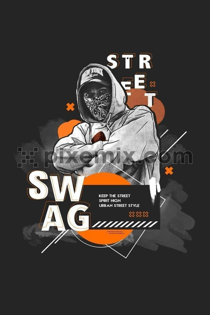 Street swag urban street style  product graphic with brush stroke