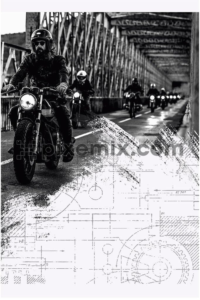 Group of moto bikers on highway product graphic