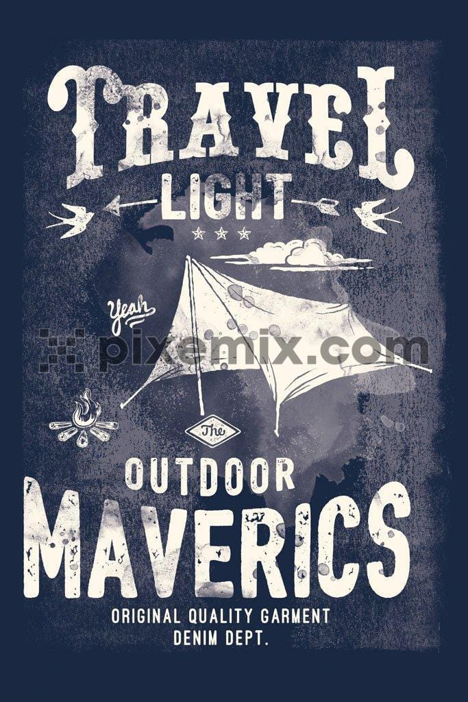 Outdoor camping tent typography product graphic with distress effect