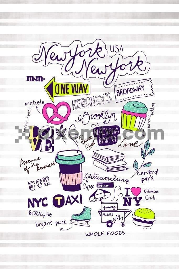Hand drawn new york doodle product graphic