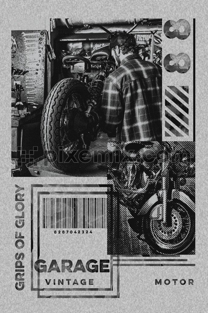 Man examining motorcycle product graphic