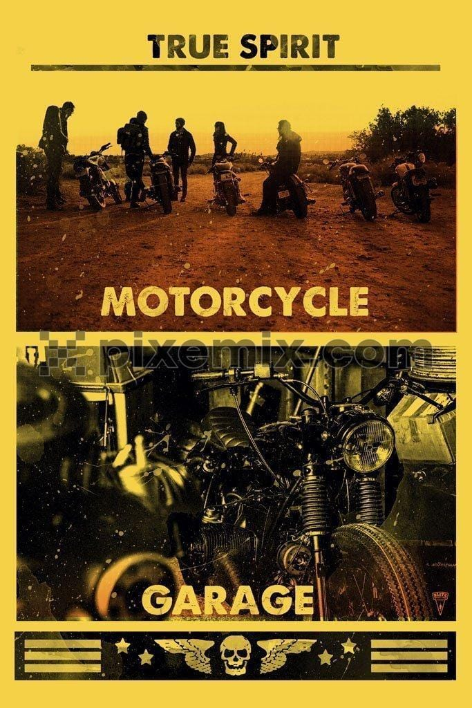 Adventurous motorcyclists product graphic