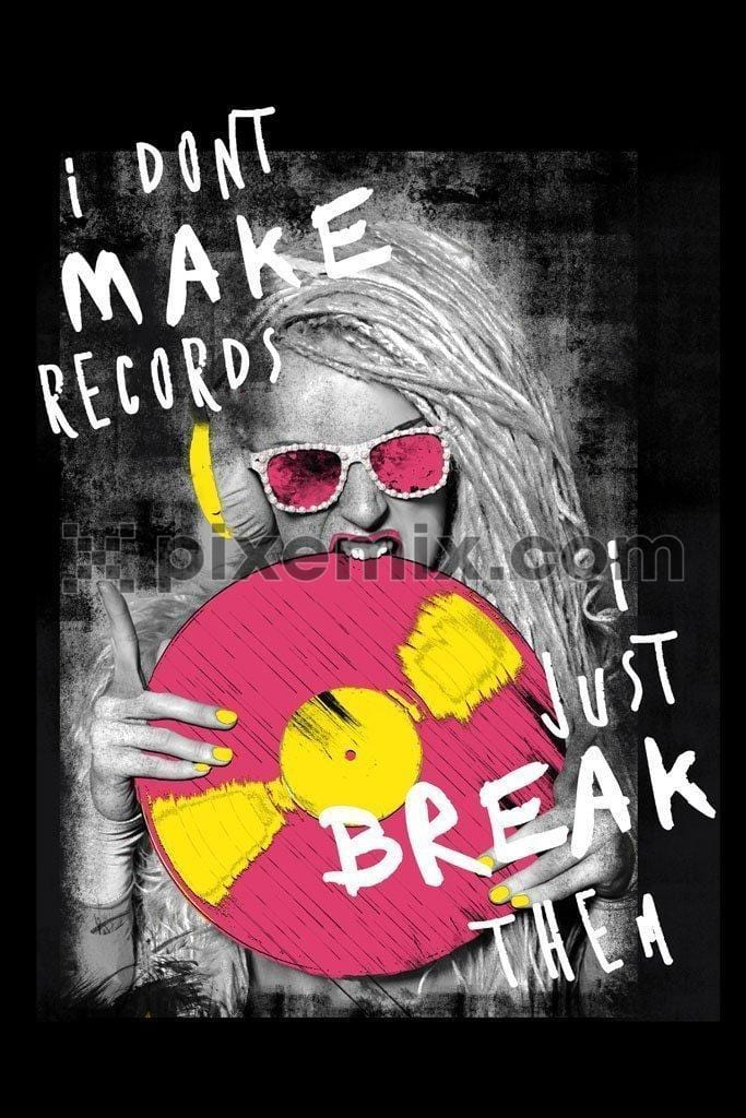 Girl wearing vintage music headphones and holding pink microgroove record product graphic