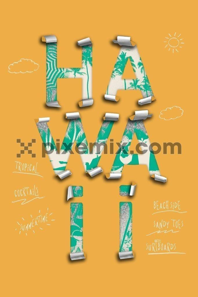 Torn paper vacation art concept product graphic