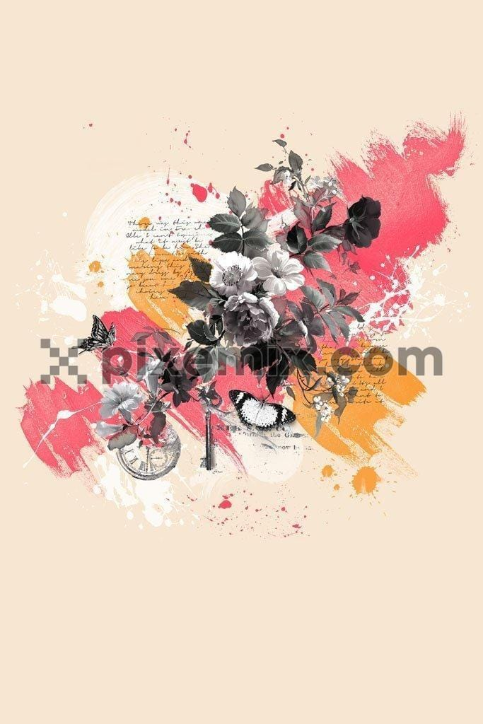 Monochrome floral with color brush backgroung product graphic