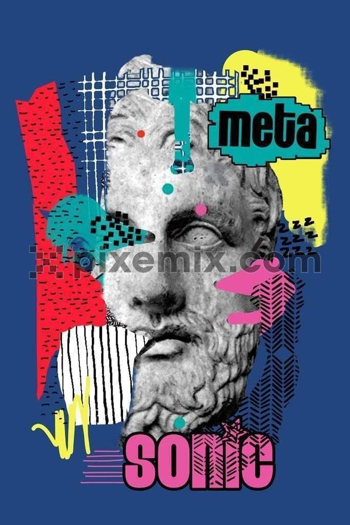 Pop inspired renaissance statue color block product graphic