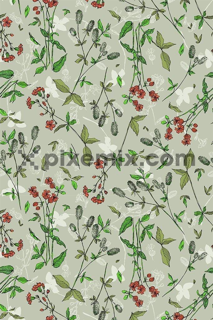Floral with leaf vector pattern product graphic