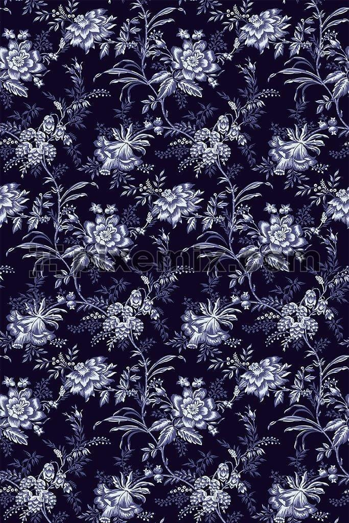 Monochrome intricate floral vector pattern product graphic