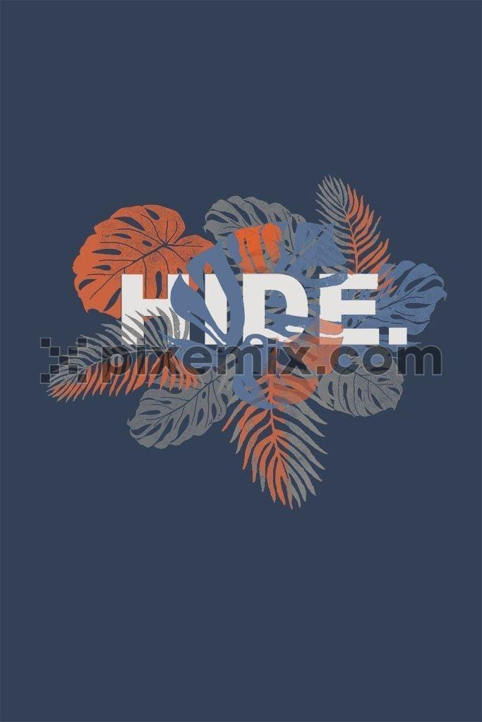 Tropical leaves hide typography product graphic