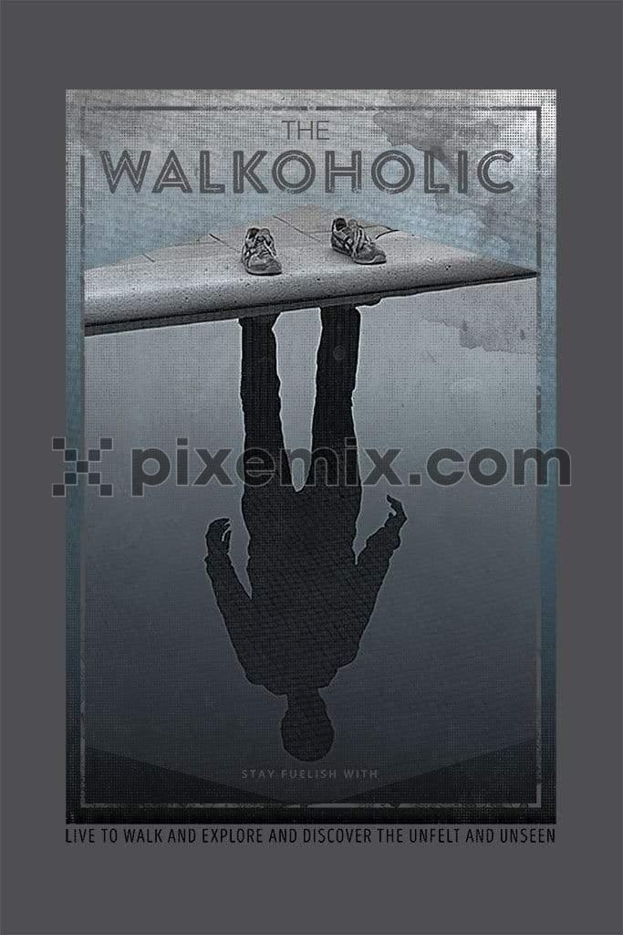 Reflection of man standing near puddle product graphic