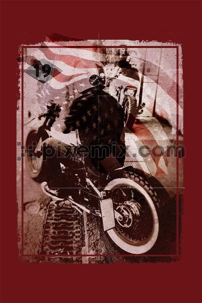 Motorcycle with an american flag abstract product graphic