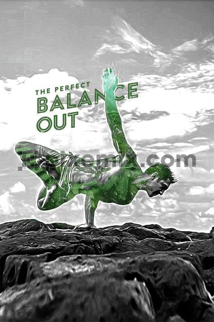Man doing one hand balance exercise product graphic