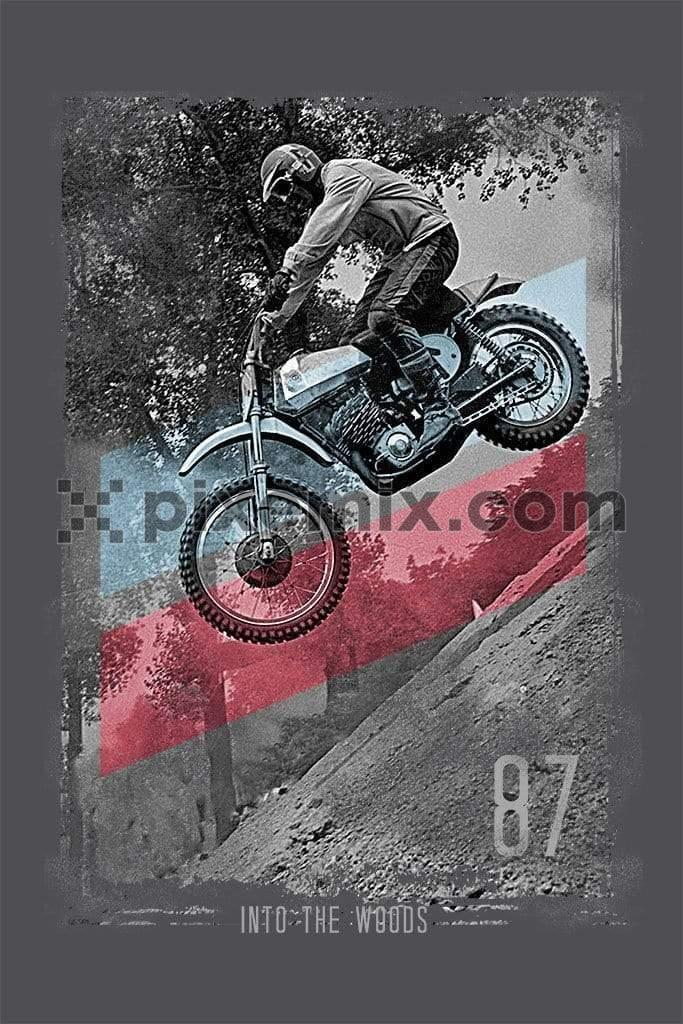 Motorbiker off roading product graphic