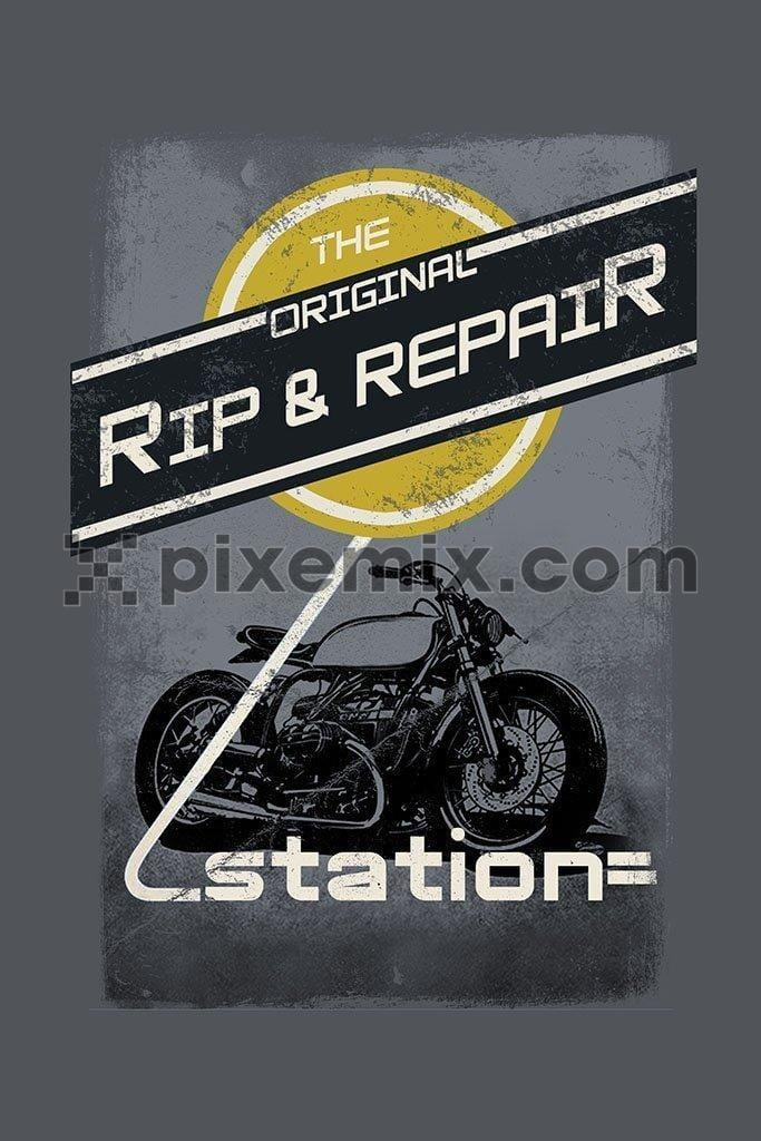 Motorcycle rip and repair  product graphic with distress effect