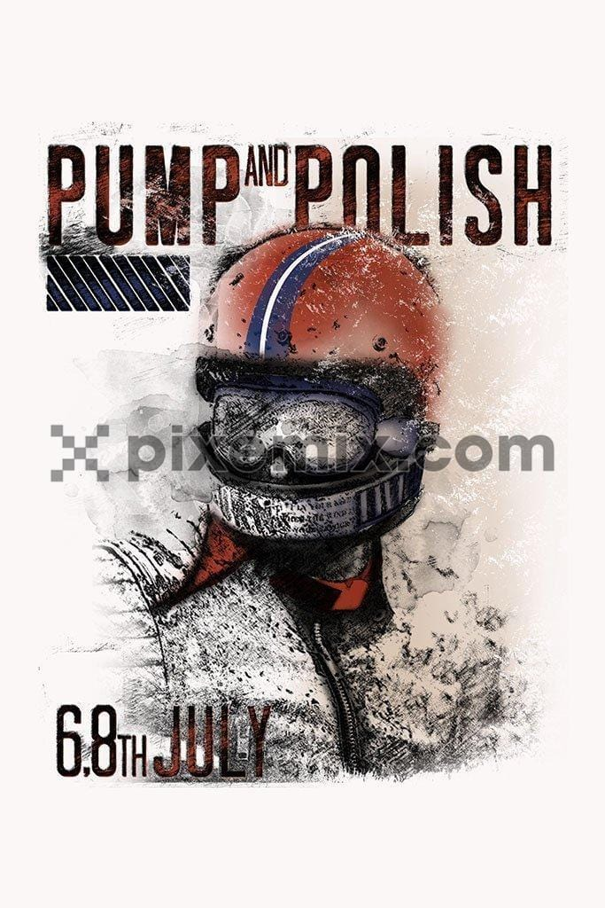 Motorcycle pump and polish product graphic with distress effect