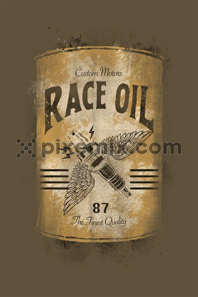 Spark plug with race oil can product graphic