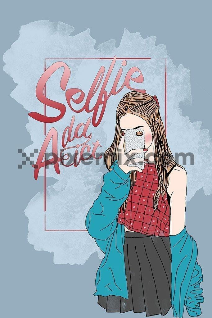 Girl taking selfie product graphic