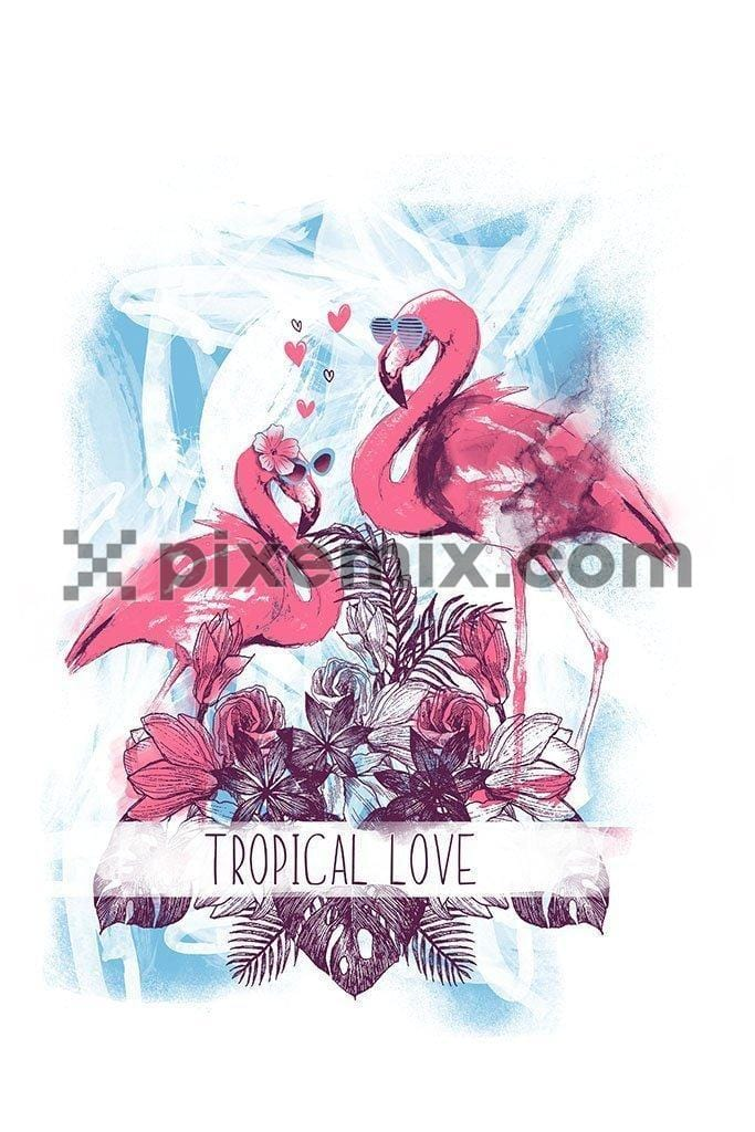 Tropical birds pink flamingo exotic flowers bird of paradise product graphic