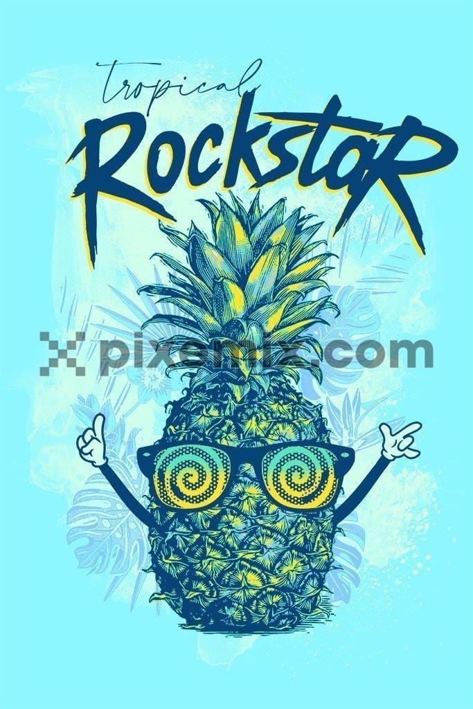 Tropical rockstar pineapple product graphic