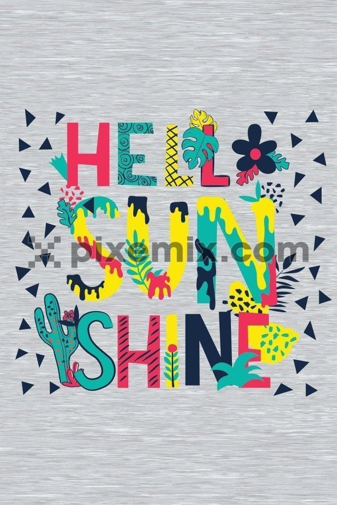Hello sunshine cute & colorful typography vector product graphic