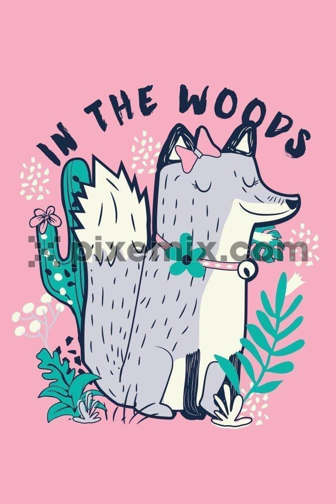 Cute cartoon fox in the woods vector product graphic