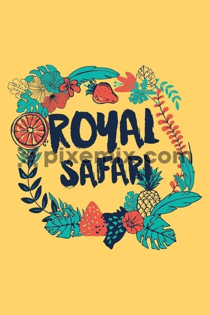 Tropical inspired royal safari typography vector product graphic