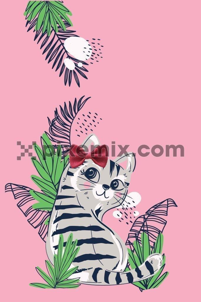 Cute cartoon cat with 3D bow & tropical leaves vector product graphic