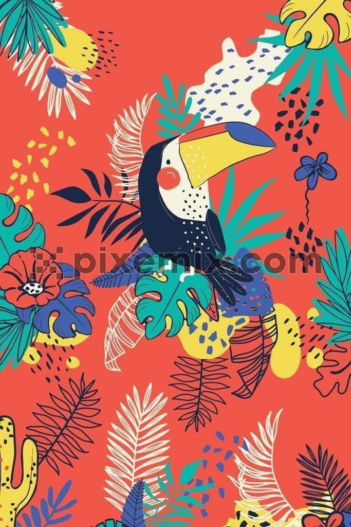 Cartoon toucan around tropical leaves & flowers vector product graphic