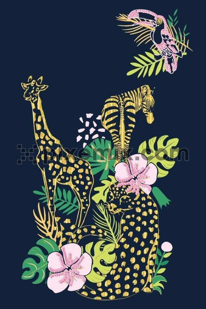 Tropical wild animals product graphic with gold foil & sequins effect