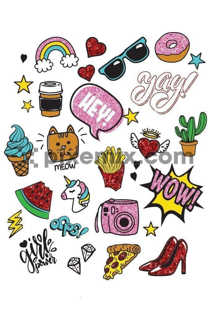 Cute doodled girly icons product graphic with glitter effect
