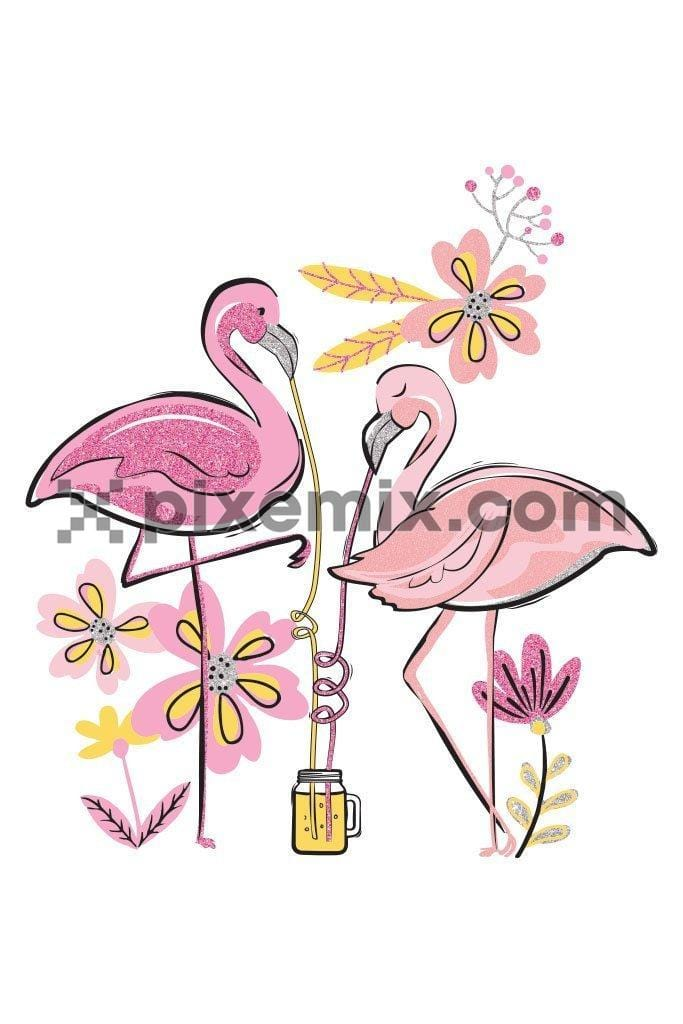 Cute flamingo couple having tropical drink product graphic with glitter effect