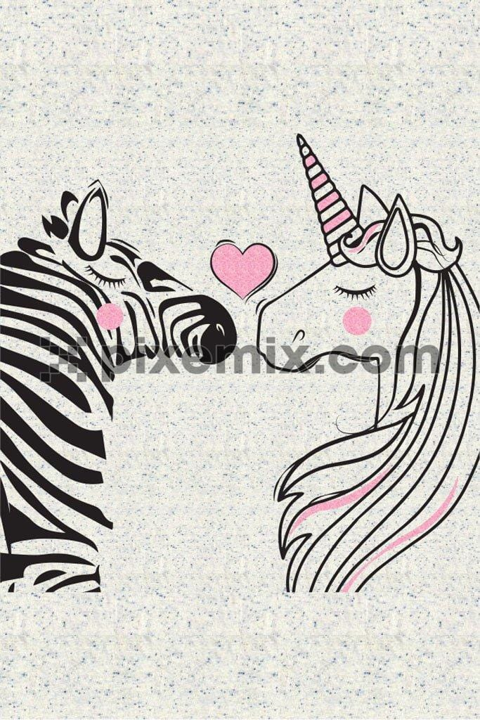 Cute unicorn and zebra love product graphic