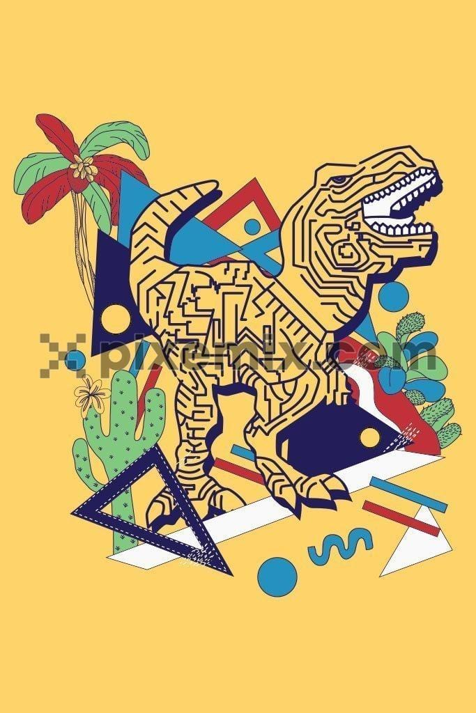 Doodle pop art dino vector product graphic