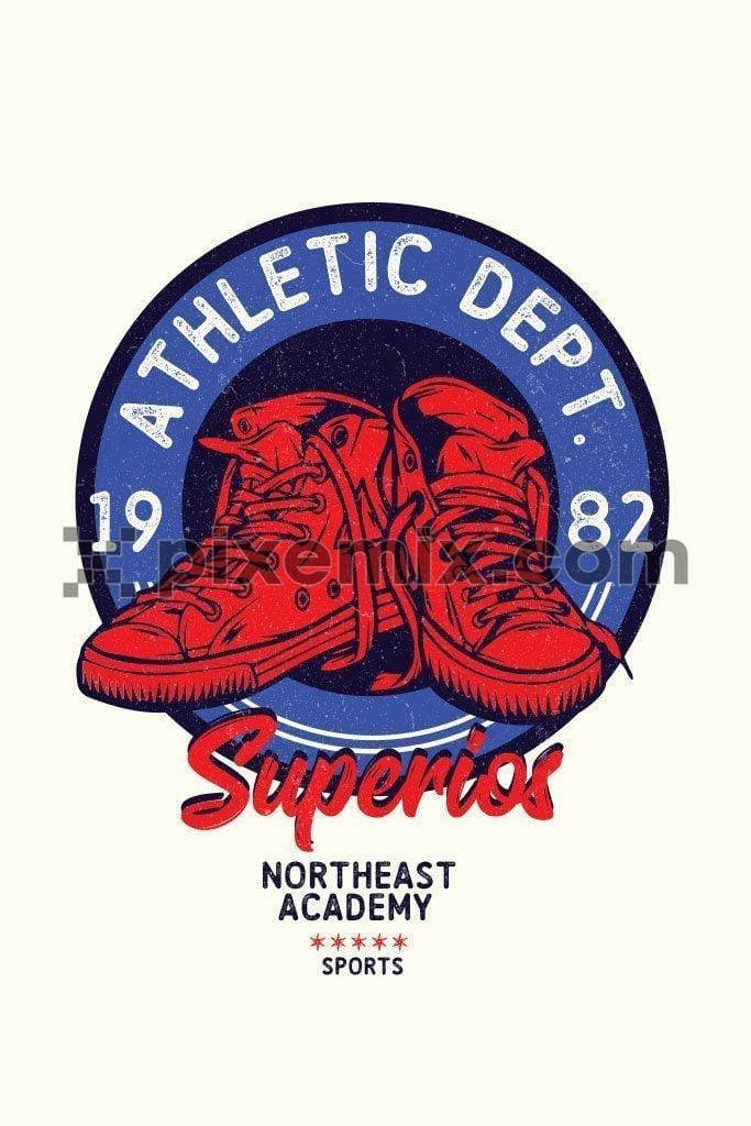 Varsity inspired college sneakers vector product graphic