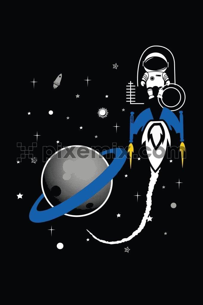 Astronaut on outer space cute vector product graphic
