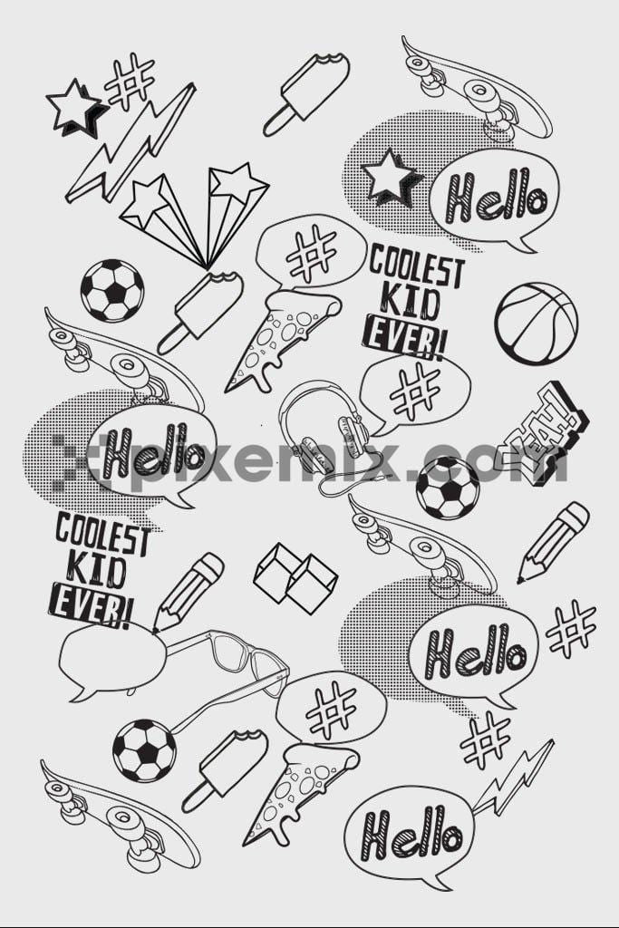Cool doodled fun vector product graphic