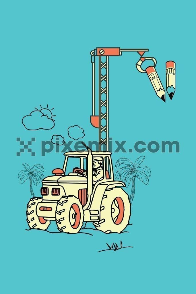 Doodled crane holding pencil vector product graphic